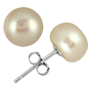 8.5-9mm All Natural Freshwater White Pearl Stud Earrings in .925 Sterling Silver