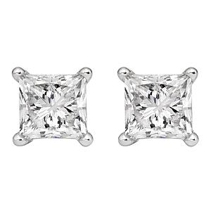 3/4 Carat Genuine White Topaz Princess Stud Earrings in .925 Sterling Silver