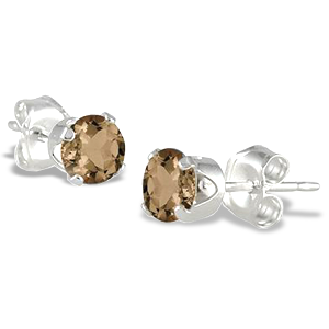 4MM All Natural Round Smokey Quartz Stud Earrings in .925 Sterling Silver