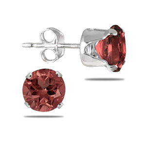 6MM Round All-Natural Genuine Garnet Earrings in .925 Sterling Silver